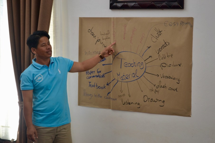 Souvanh Navong presents the Lao teachers' mind map