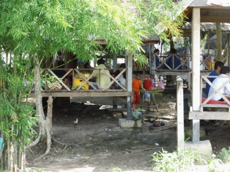 Bamboo huts on the river