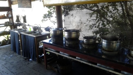 Soup kitchen? Saucepans filled with natural dyes