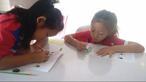 Second-graders practising colours in English