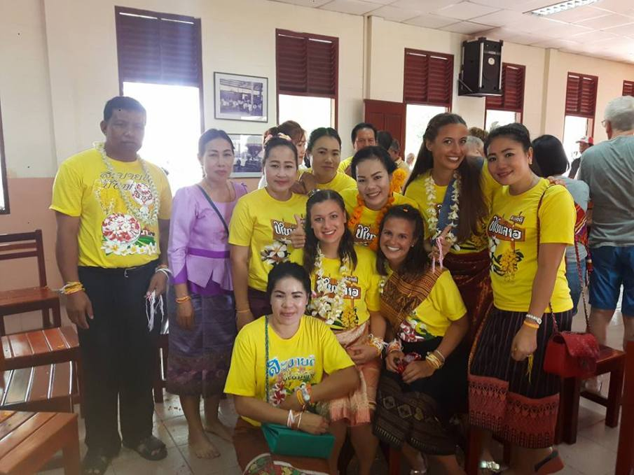 The Lao teachers and us after the Baci ceremony
