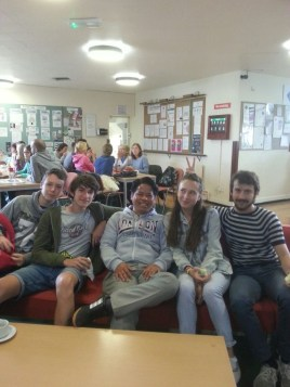 Me with new friends in the common room at Hilderstone College