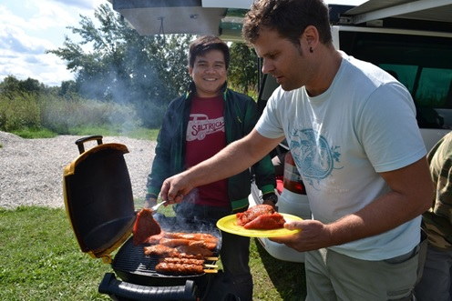 Christian Schart, head of the electrical department in the UeBZO and me at a BBQ