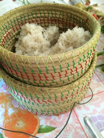 Sticky rice in its traditional bamboo basket