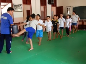 Mr Sai and his karate class at Ban Sikeud primary school