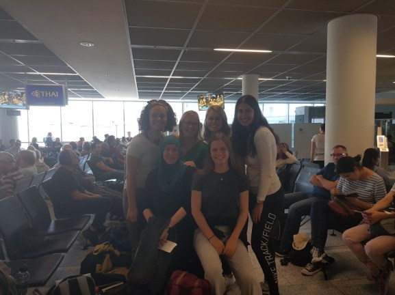Part of Team VII at Frankfurt Airport and Shirin Ud-Din (me) before our flight to Vientiane
