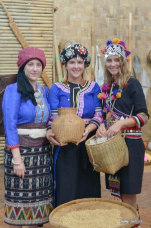 The LGTC girls in traditional Lao outfits at the View Mall