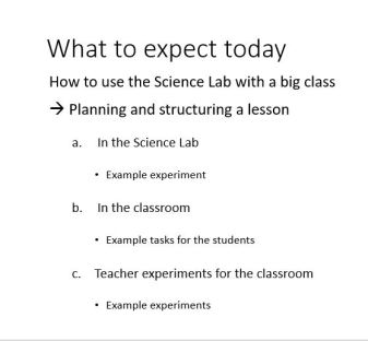The agenda of our science workshop