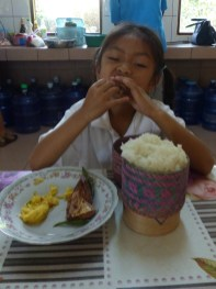 ... and Anna enjoys her meal.