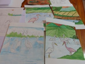 ... and colouring it in with watercolours afterwards.