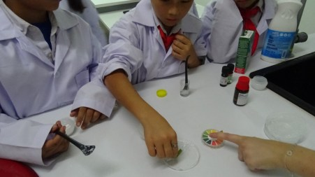 Pupils check if their soap is eudermic.