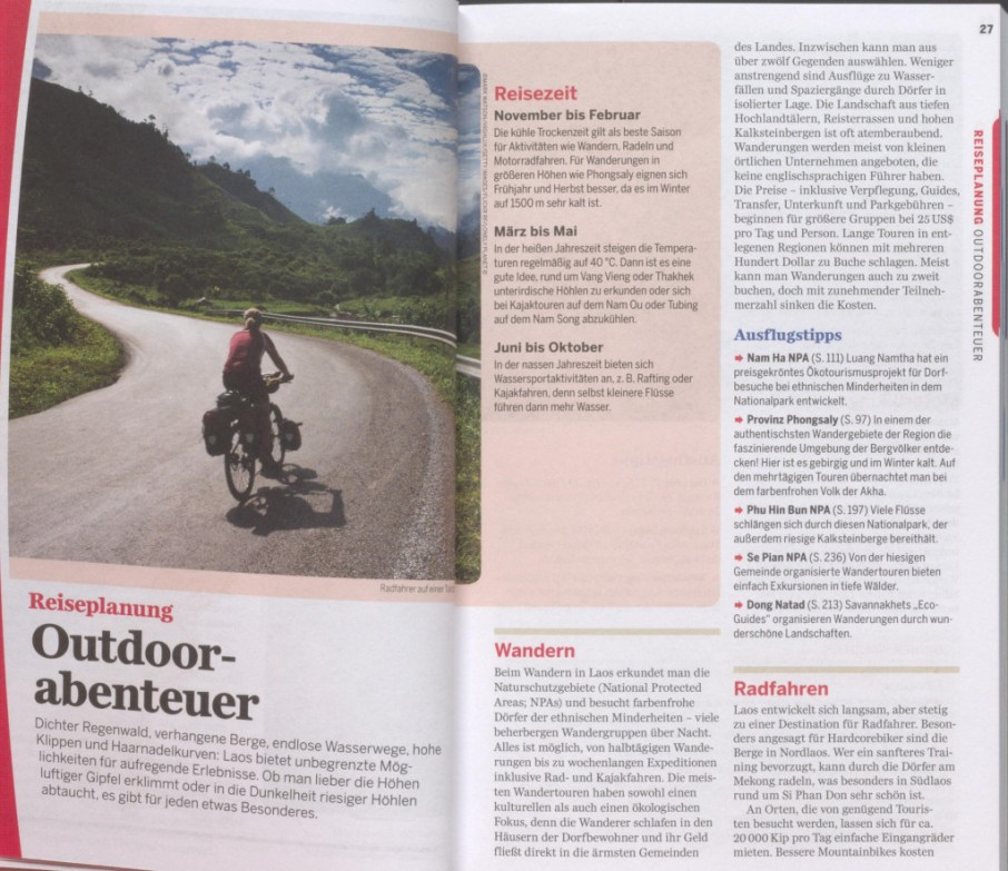 "Section talking about ""outdoor adventures"" - excerpt from ""Lonely Planet Laos"", © 2007 MAIRDUMONT GmbH & Co. KG"