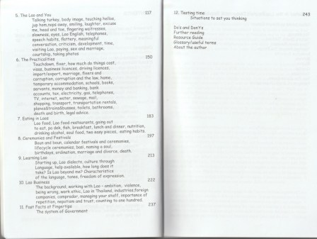 "Table of contents - excerpt from ""The Lao, Laos... and You"", © 2008 Robert Cooper"