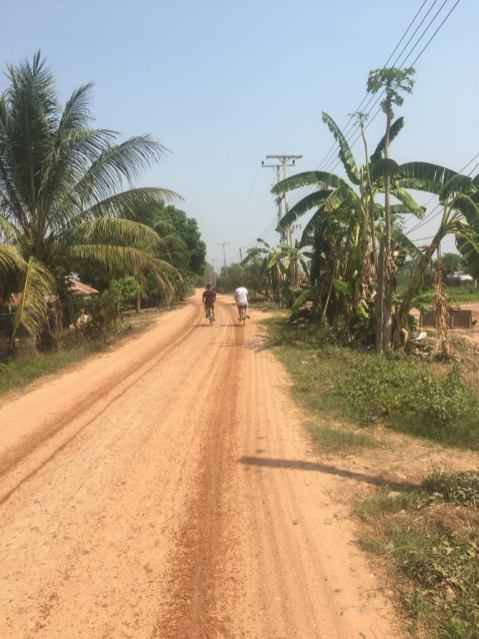 Bicycle riding in the periphery of Vientiane.