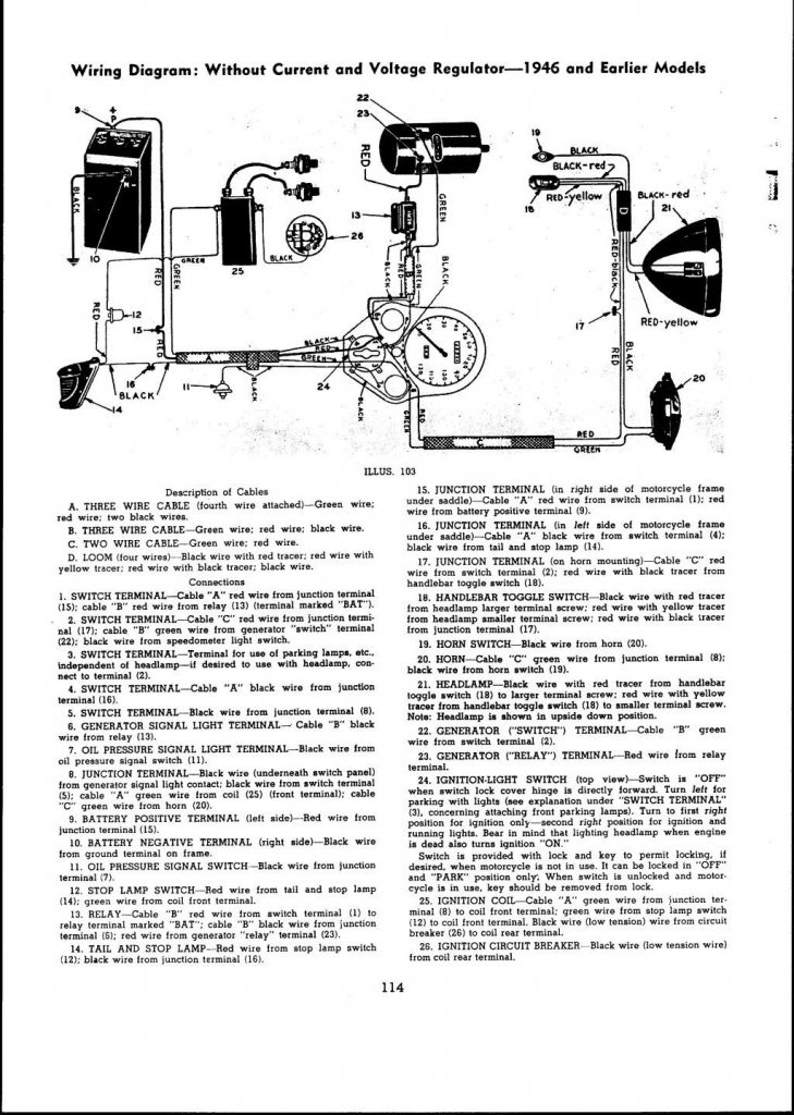 1946 And Earlier Models Wiring Diagram: With Current And