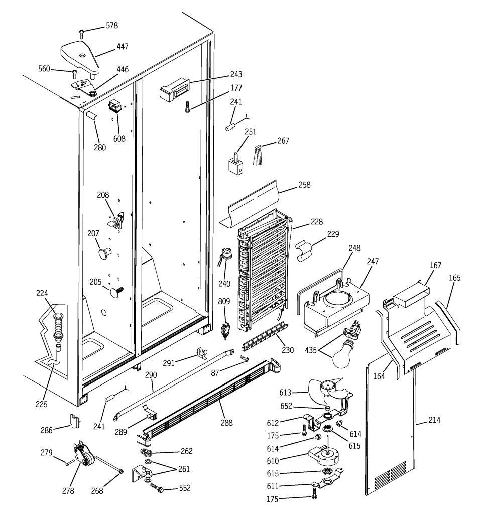 Ge Model Dss25Pfmdww Side-By-Side Refrigerator Genuine