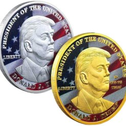 SUNNYHILL 2 Pcs Trump Coin Gold and Silver Plating Keep America Great Challenge Coin - American Eagle Commemorative Coin 41mm Stunning Proof Coin Re-Election Gift Collectors Edition Series