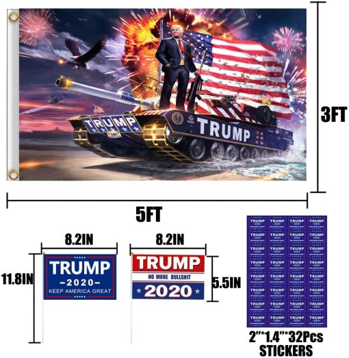 2pcs Trump 2020 Flags 3x5 Outdoor (Make America Great Again and Trump Tank Flag) with Grommets and 4 Holding Small Trump Flag and 32pcs Stickers, for 2020 Presidential Election Republican Flag