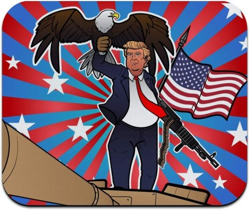 Patriotic Donald Trump with Eagle American Flag Gun Low Profile Thin Mouse Pad Mousepad