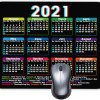 2021 Calendar HD Font Mouse pad, Non-Slip Personalized Rectangular Black Background, Size: 9.5 x 7.6 inches (2021 Black)