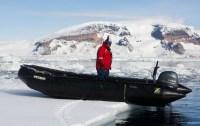 Zodiac on floating ice, waiting to take us back