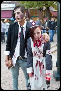 Morgan looking adorable as an anime nurse zombie.
