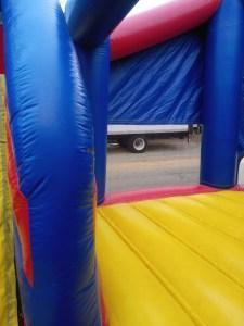 Super hero bounce house combo slide
