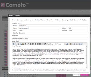 Cover letter feature for your convenience  Comoto