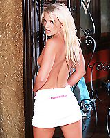Sexy and Hot Blonde Russian Girl in teen Does Slow Striptease in Hotpants