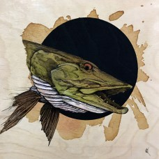 """Muskie   2017   8"""" x 8""""   Pen and ink on wood"""