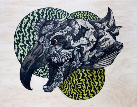 "Gojira | 2015 | 14"" x 11"" | Mixed media on wood panel"