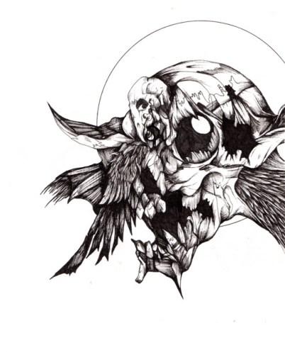 "Swan Song   2012   8"" x 12""   Pen on paper"