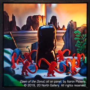 """Dawn of the Donut"" Oil on panel by Aaron Pickens"
