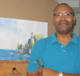 Aaron S. Bivins at his easel