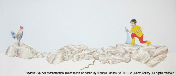"""Balance, Boy and Blanket series"" mixed media on paper by Michelle Carlson"