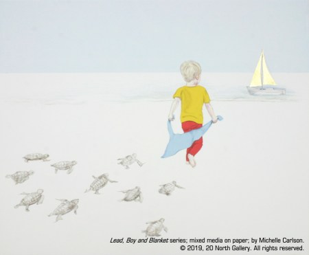 """""""Lead, Boy and Blanket series"""" mixed media on paper by Michelle Carlson"""