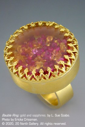 """Bauble Ring"" gold and sapphires by L. Sue Szabo, photo by Ericka Crissman"