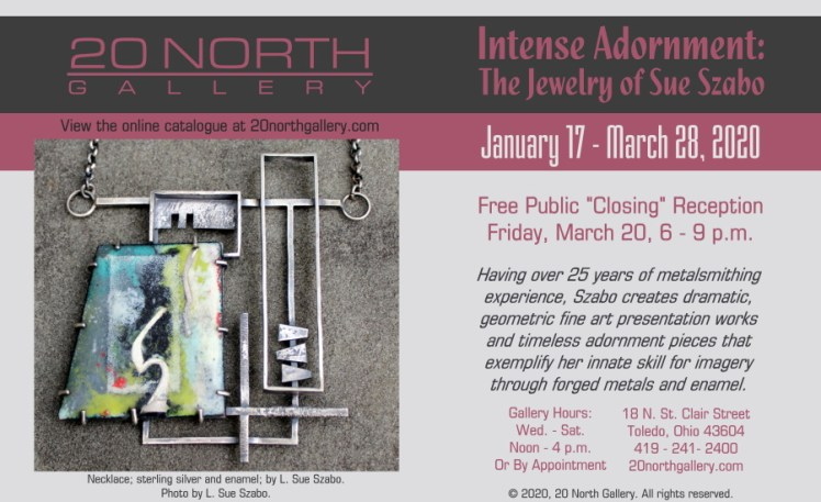"""""""Intense Adornment: The Jewelry of Sue Szabo."""" Having over 25 years of metalsmithing experience, Szabo creates dramatic, geometric fine art presentation works and timeless adornment pieces that exemplify her innate skill for imagery through forged metals and enamel."""