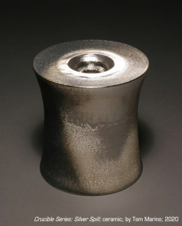 """""""Crucible Series: Silver Spill"""" - ceramic with metallic silver, by Tom Marino, 2020. Photo by Stephen Johnston."""