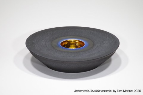 """""""Alchemist's Crucible"""" - ceramic with metallic silver and tint, by Tom Marino, 2020"""