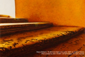 """Palazzo Barberini, The Borromini Stairs,"" oil on panel, 2021, by Jonathan Ralston"