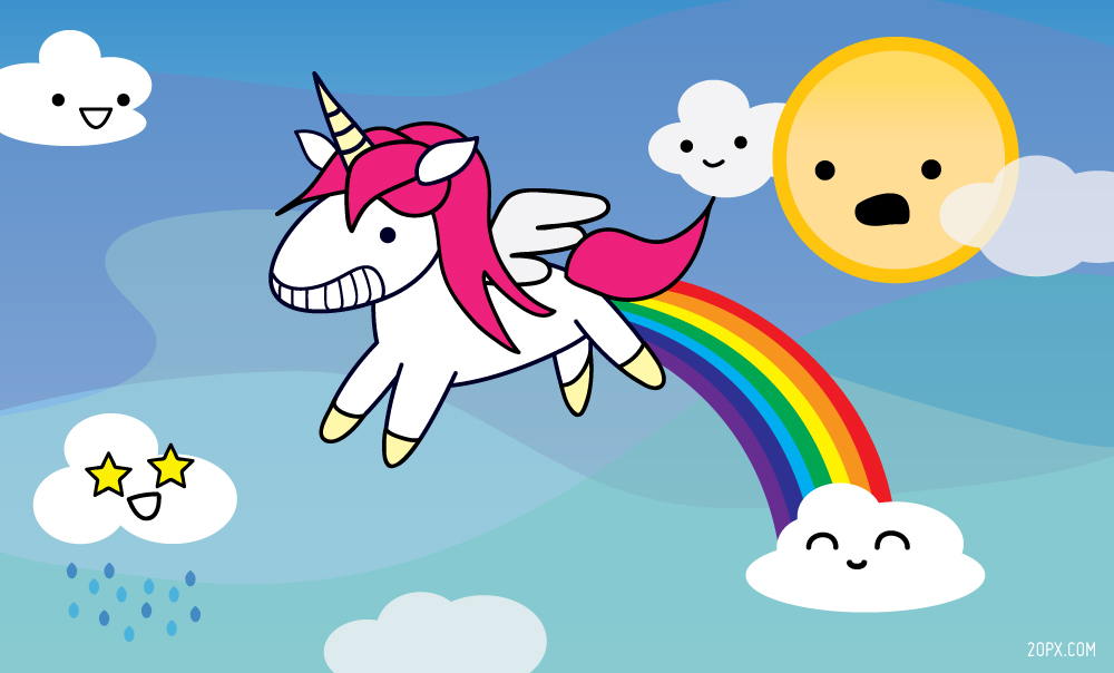http://20px.com/blog/2013/02/09/the-curious-case-of-rainbow-pooping-unicorns/#.U1qtMvldXE0
