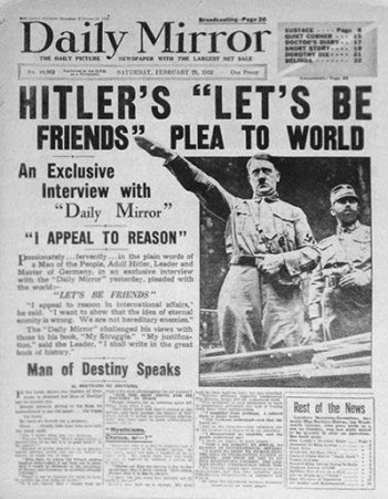 Hitlers speech which was aired across Europe, was printed in English flyers and a leaflet drop was conducted over London to ensure the people received his message