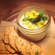 Buttermilk panna cotta with meyer lemon & mint.