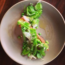 Focaccia bruschetta with fava beans, snow peas, mint & holymoly cheese.