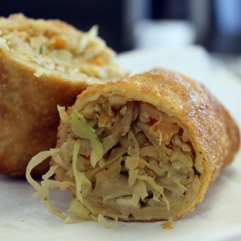 A photograph of the crawfish egg roll from Kim's Seafood