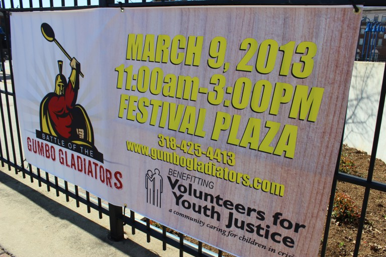 A photo of a banner promoting Gumbo Gladiators