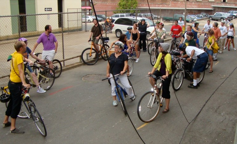 A photo of a group of urban bikers in Shreveport