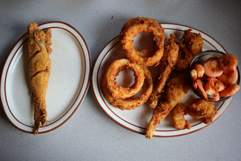 A photo of a plate of fried seafood