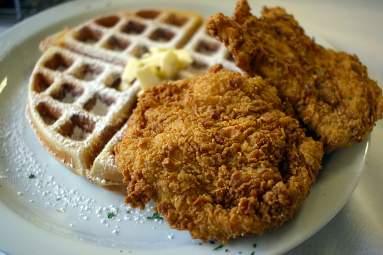A photo of chicken and waffles